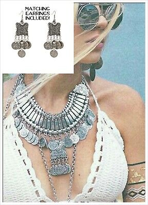 Boho Silver Coin NECKLACE and EARRINGS Ethnic Tribal Coachella Gypsy Belly Dance
