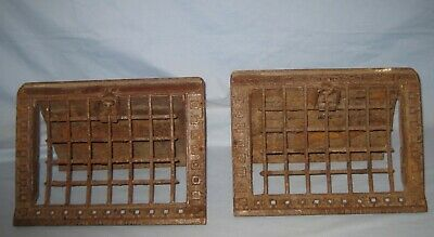 Lot 2 1905 Antique Cast Iron Ornate Vent Register Floor Grates Louvers Unusual!