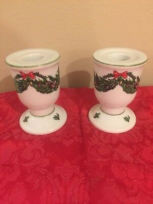 """Georges Briard BRR9 Deck the Halls - Set of 2 Candle Stick Holders (3 3/4"""")!"""