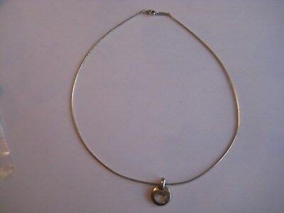 """Tiffany & Co Sterling Silver Omega Chain Necklace 16"""" 1999 Pierced Heart Pendant"""