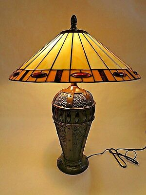 """Tiffany Style Stained Glass Mission Arts & Crafts table lamp 24"""""""
