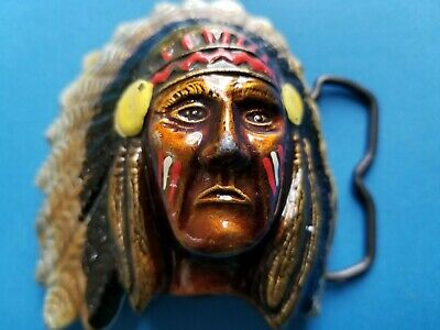 Indian Chief with Feather Headdress & Face Paint Belt Buckle Enamel 3D MBCI