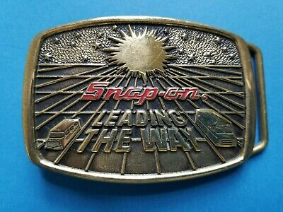 "Vintage 1988 SNAP-ON Tools ""Leading the Way"" Belt Buckle L4 - SSX-1232 Brass"