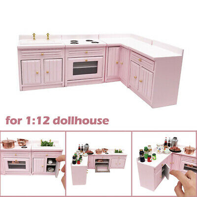 Luxury Wooden Miniature Kitchen Cabinet Cupboard Sink Set for 1/12 Dollhouse