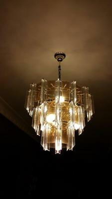 1970'S 10 LIGHT BEVILLED SMOKED GLASS AND PERSPECS CHANDELIER - 1 of 2