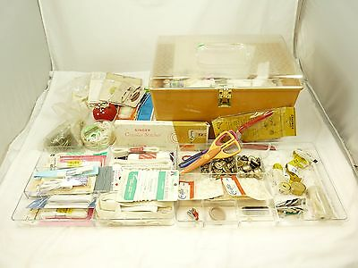 Mixed Lot of Vintage Sewing Notions In Sewing Box Case Lots of Accessories