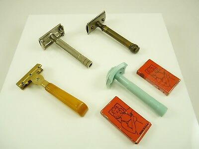 Mixed Lot of Vintage Safety Razors Gillette Schick