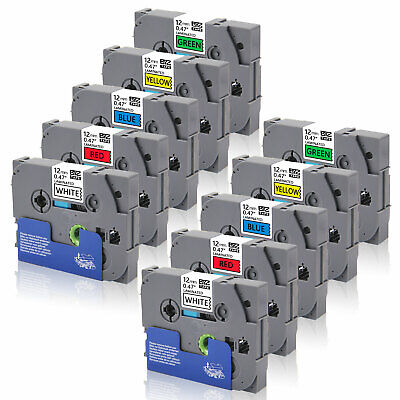 "10PK TZ231-TZ731 12mm 0.47"" Label Tape Compatible/Brother P-Touch PT-1890C D210"