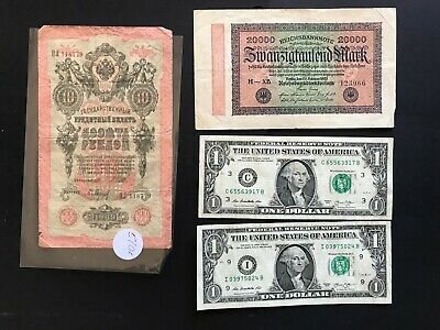 Vintage banknotes. U.S.A, Russia 1909, Germany 1923. 870a