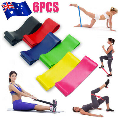 6Pcs Heavy Duty POWER YOGA RESISTANCE BANDS LOOP Fitness Gym Exercise Workout AU