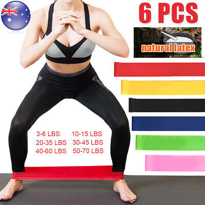 6X Gym Power RESISTANCE BAND LOOP Exercise Yoga Plates Fitness Training Workout
