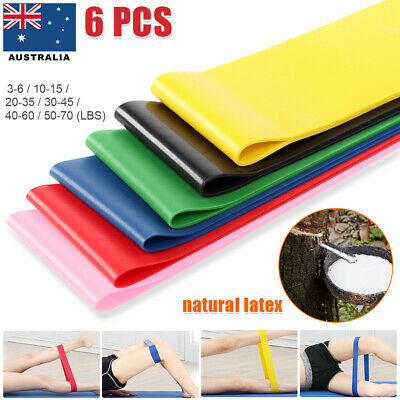 6 SET Resistance Loop Bands Mini Band Exercise Workout Strength Fitness YOGA GYM