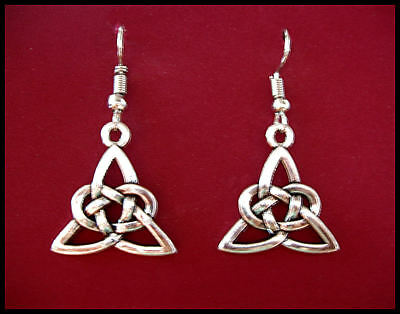 Triquetra - Knot  Silver Symbol Earrings - Surgical Steel hooks