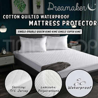 DREAMAKER Fully Fitted 100% Cotton Quilted Waterproof Mattress Protector topper