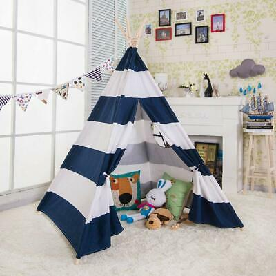 Large 100% Cotton Canvas Kids Teepee Tent Children Wigwam Indoor PlayHouse Blue