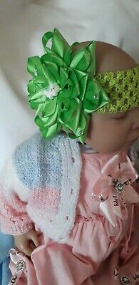 Romany Baby Girl Huge Lime Green Unicorn Diamonte  Bling  Bow Party Headband