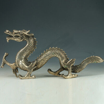 Old Chinese Silve Copper Hand Made Statue carved dragon     A243