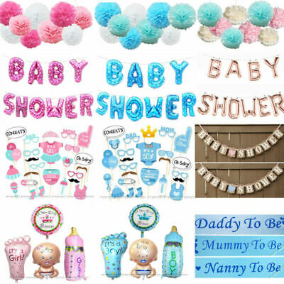 Baby Shower Boy Girl Decorations Set Sashes Balloon Bunting Photo Props Pompoms