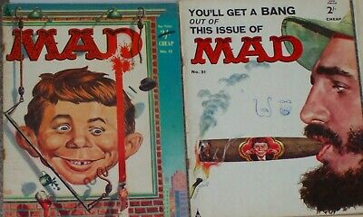 Vintage MAD magazines,10 copies from #12(1960) to #127(about 1970),good reading!
