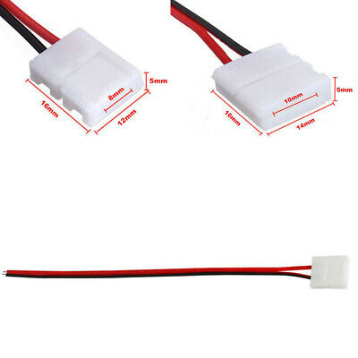 5PCS New 3528 5050 LED Single Color Strip 2Pin PCB Connector Solderless Cable