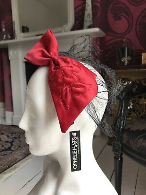 RED OVERSIZED BOW HEADBAND FASCINATOR with Black Net  - Ophelie Hats Canada
