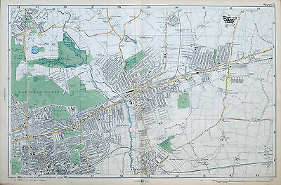 Original Antique Map of LONDON, WEST HAM, ILFORD, WANSTEAD, BARKING,  -  1904