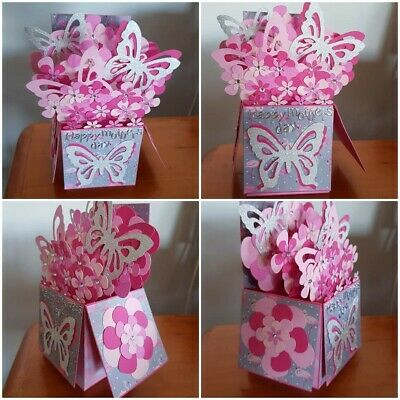Handmade Mothers Day Folding Pop Up 3D Box card- Pink flowers and Butterfly