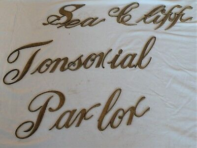 Antique Barber Shop Sign Script Letters- Sea Cliff Tonsorial Parlor - Victorian