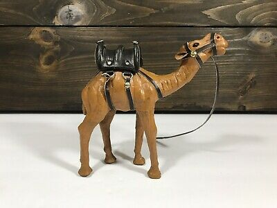 Vintage Leather wrapped  Dromedary Camel figure with Saddle
