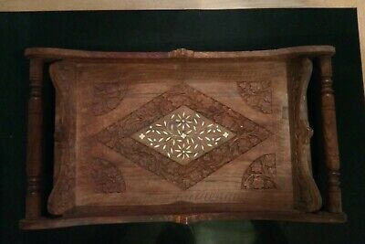 Beautiful Antique Inlaid Heavily Carved Tray Butlers Retro Freepost Uk This Week