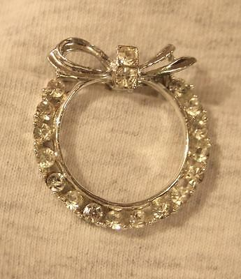 Delightful Small Vintage Silvertone Open Circle Bow Topped Rhinestone Brooch Pin