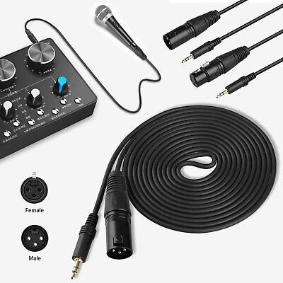 10FT XLR 3-Pin Male/Female to 3.5mm Stereo Plug Shielded Microphone Mic Cable