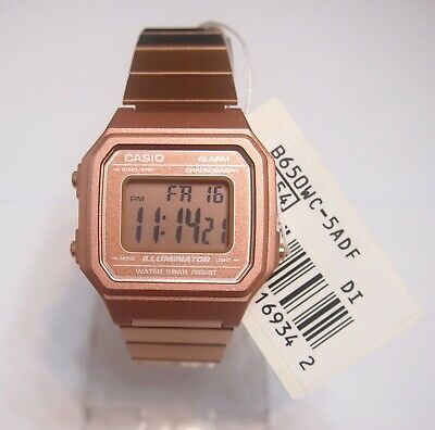 CASIO Rose Gold Digital Stainless Steel Alarm Watch B650WC-5 100% Original New