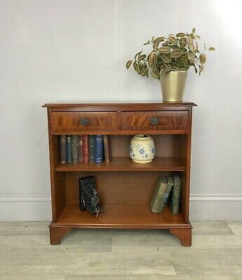 Flame Mahogany Compact Console Hallway Table With Shelf & 2 Drawers AP32