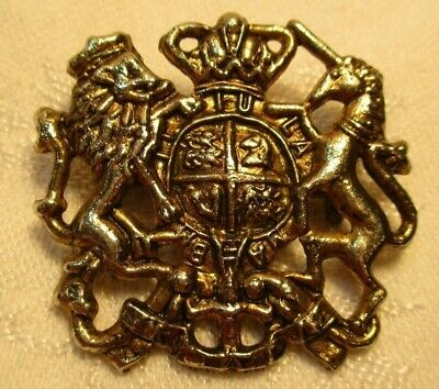 "Unusual Vintage Unicorn & Lion ""Coat Of Arms"" Shield Pin Brooch Silver Tone"