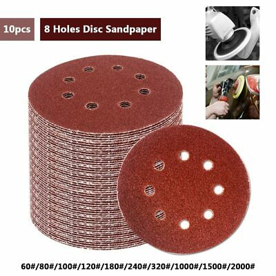 10pcs 5 Inch 125mm Round Sandpaper Eight Hole Disk Sand Sheets Grit 60-2000