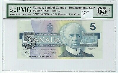 Canada  5 Dollars 1986 BC-56bA Replacement PMG 65 EPQ Large F variety
