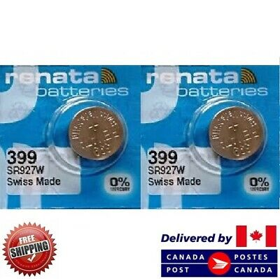 2 PCS Renata 399 Watch Batteries 0% MERCURY SR927W Swiss Made CDN SELLER