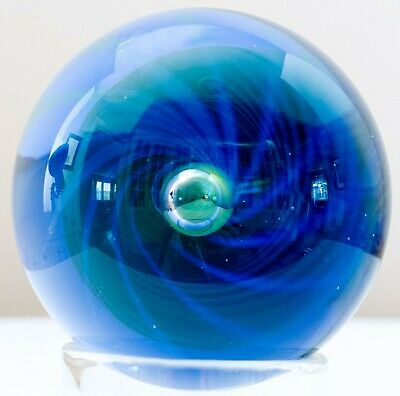 PAPERWEIGHT Blue Art Glass Handmade Signed Georges L ? Hand Blown Glassmaking