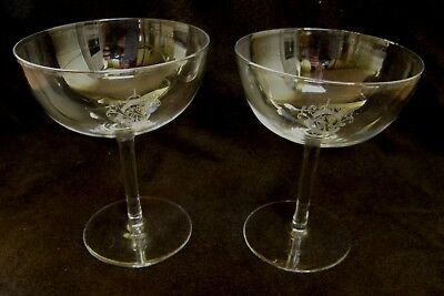 Exquisite pair of antique crystal champagne saucers ~ 8 available