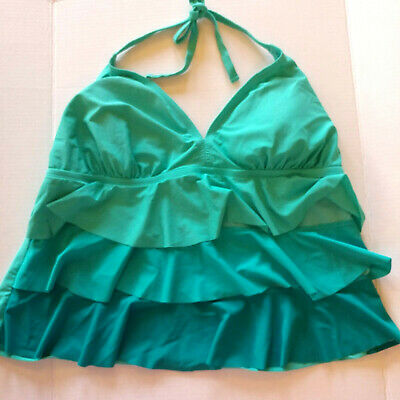 cc835a811af15 catalina womens ruffled tankini swimsuit top size 3x green ombre padded cups