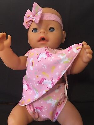 New Unicorn Dolls Clothes Dress Nappy Bow Fit Baby Born Luvabella Annabell 16-18