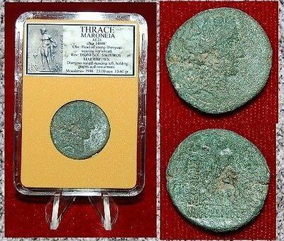 Ancient Greek Coin Thrace Maroneia Dionysos On Obversed Reverse Large Coin!