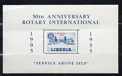 LIBERIIA STAMP 1955  50th ANNIVERSARY ROTARY INTERNATIONAL MINIATURE SHEET MNH