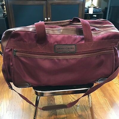 Pierre Cardin Duffel Bag Carry On Travel Overnight Bag Maroon w/ Imperfection