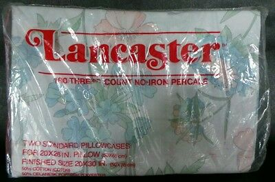 NOS Vintage 2 (1 pair) Floral Lancaster Standard Pillowcases No-iron Percale