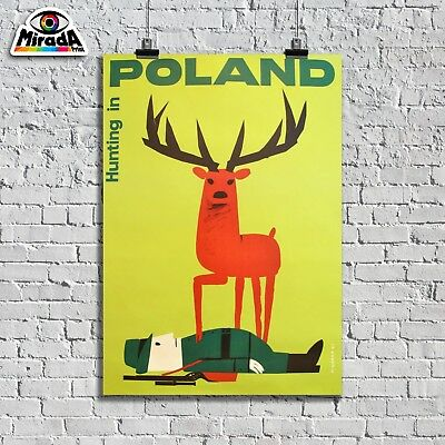Poster Vintage Poland Hunting in Jagd in Travel & der Topquality Graphics