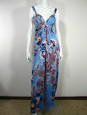 Elie Tahari Sleeveless Sweetheart Neckline Dress Size S P Blue Paisley Red 033