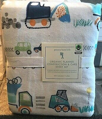 Pottery Barn Kids Organic Flannel construction and cars QUEEN sheet set tractor