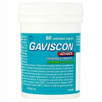 1 x 60 Gaviscon Advance Chewable Heartburn Relief Indigestion Tablets